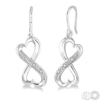 SILVER INFINITY HEART DIAMOND EARRINGS