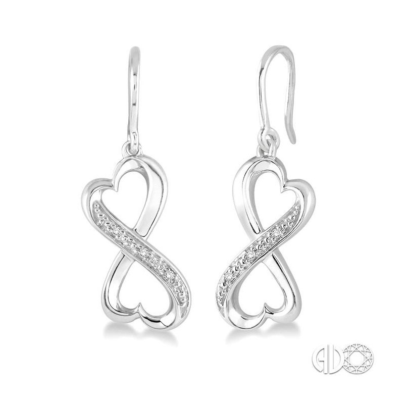 Lovebright Collection Jewelry SILVER INFINITY HEART DIAMOND EARRINGS