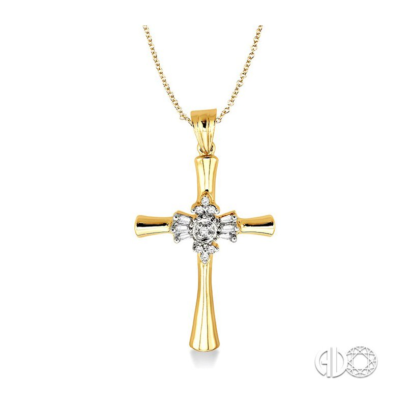 Lovebright Collection Jewelry 1/6 Ctw Baguette and Round Cut Diamond Cross Pendant in 14K Yellow Gold with Chain