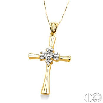1/6 Ctw Baguette and Round Cut Diamond Cross Pendant in 14K Yellow Gold with Chain