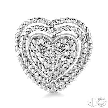 SILVER HEART DIAMOND EARRINGS