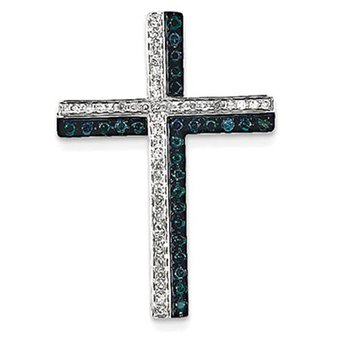 14k White Gold Blue and White Diamond Cross Pendant