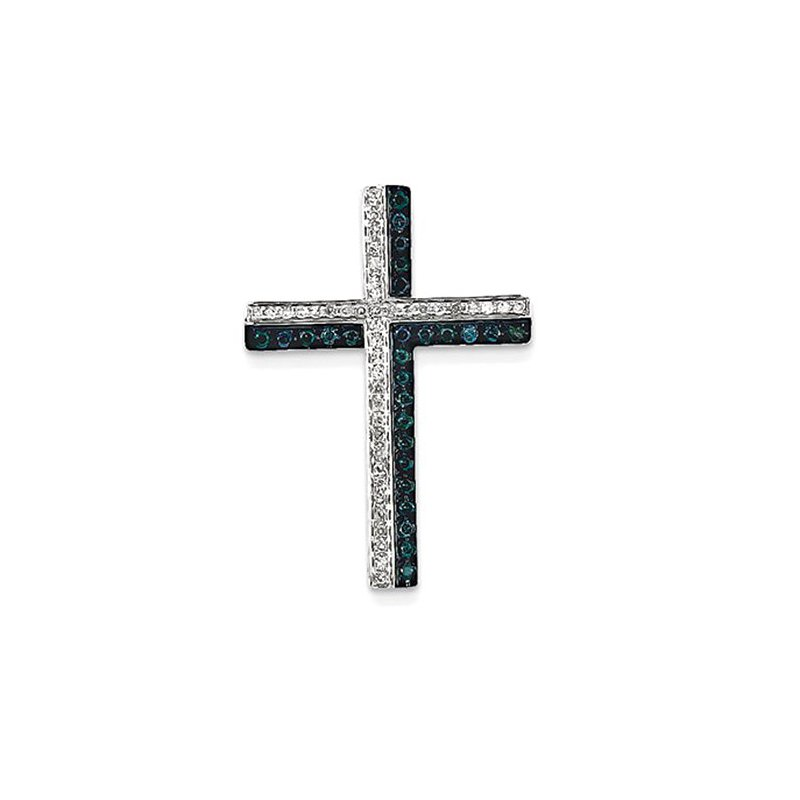 Lovebright Collection Jewelry 14k White Gold Blue and White Diamond Cross Pendant