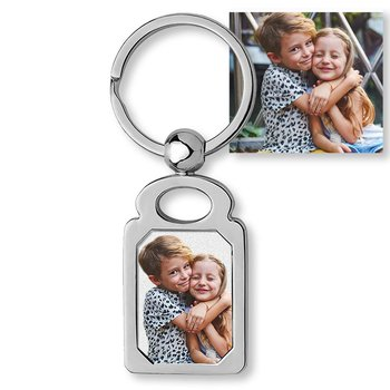 Stainless Steel Engravable Rectangle Photo Laser Keychain