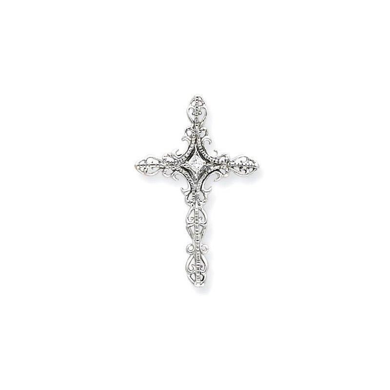 Lovebright Collection Jewelry 14k White Gold AA Diamond Cross Pendant