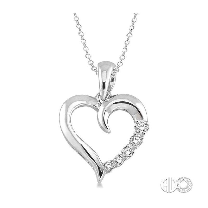Lovebright Collection Jewelry SILVER JOURNEY HEART DIAMOND PENDANT