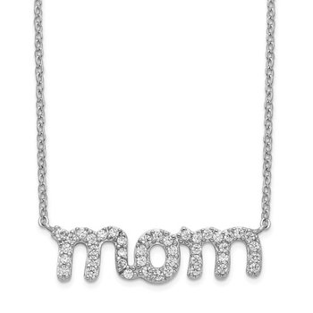 "Petite Mom Necklace with CZ's in Script with 18"" Chain"