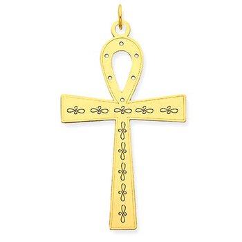 14K Laser Designed Ankh Cross Pendant