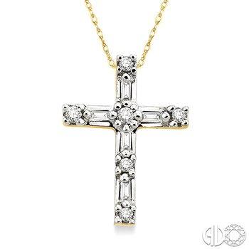 1/10 Ctw Diamond Cross Pendant in 14K Yellow Gold with Chain