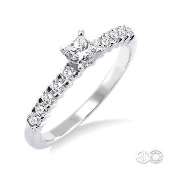 Diamond Engagement Ring with .32ct Princess Diamond