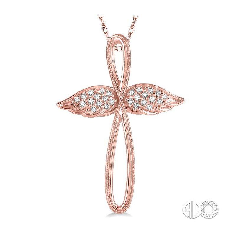 Lovebright Collection Jewelry DIAMOND ANGEL WINGS CROSS PENDANT