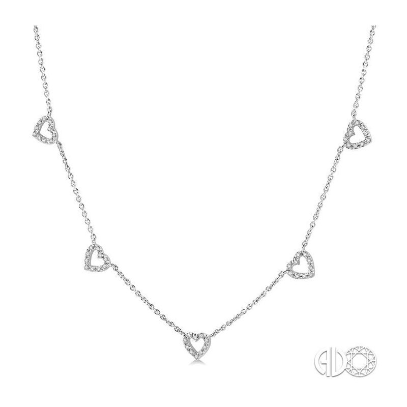 Lovebright Collection Jewelry HEART DIAMOND STATION NECKLACE