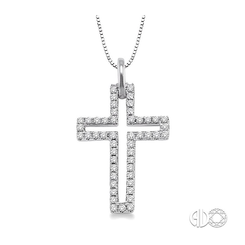 Lovebright Collection Jewelry 1/4 Ctw Round Cut Diamond Cross Pendant in 14K White Gold with Chain
