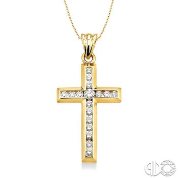 1/2 Ctw Round Cut Diamond Cross Pendant in 14K Yellow Gold with Chain