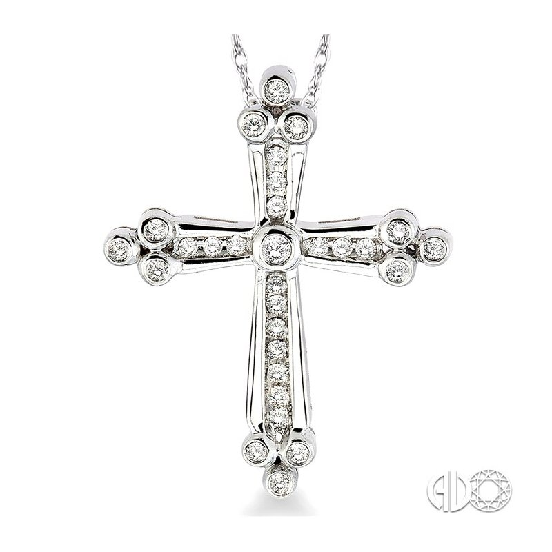 Lovebright Collection Jewelry 1/4 Ctw Diamond Cross Pendant in 14K White Gold with Chain