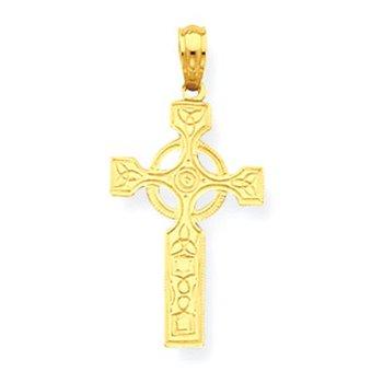 14K Celtic Cross w/Eternity Circle Pendant