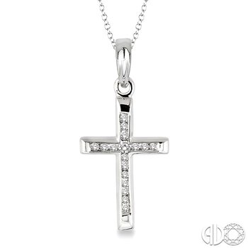1/10 Ctw Round Cut Diamond Channel Cross Pendant in Sterling Silver with Chain