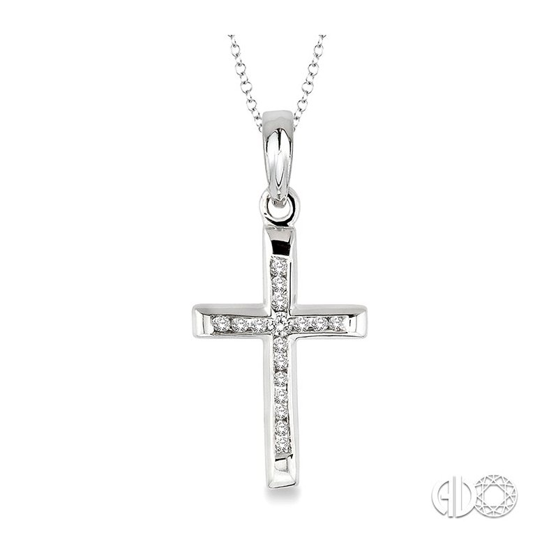 Lovebright Collection Jewelry 1/10 Ctw Round Cut Diamond Channel Cross Pendant in Sterling Silver with Chain