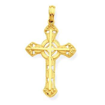 14K Stick Cross on Ornate Cross Pendant
