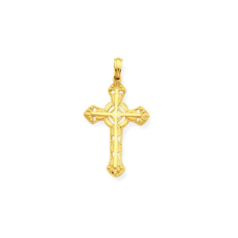 Lovebright Collection Jewelry 14K Stick Cross on Ornate Cross Pendant