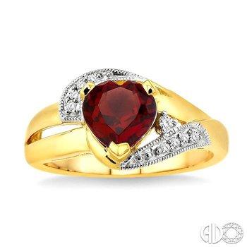 HEART GEMSTONE & DIAMOND RING