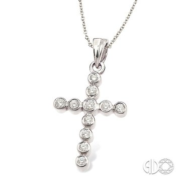 1/4 Ctw Round Cut Diamond Cross Pendant in 14K White Gold with Chain