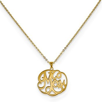 "14K Yellow Script ""Mom"" Pendant With Chain"