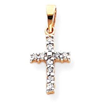 14k & Rhodium Diamond Latin Cross Pendant