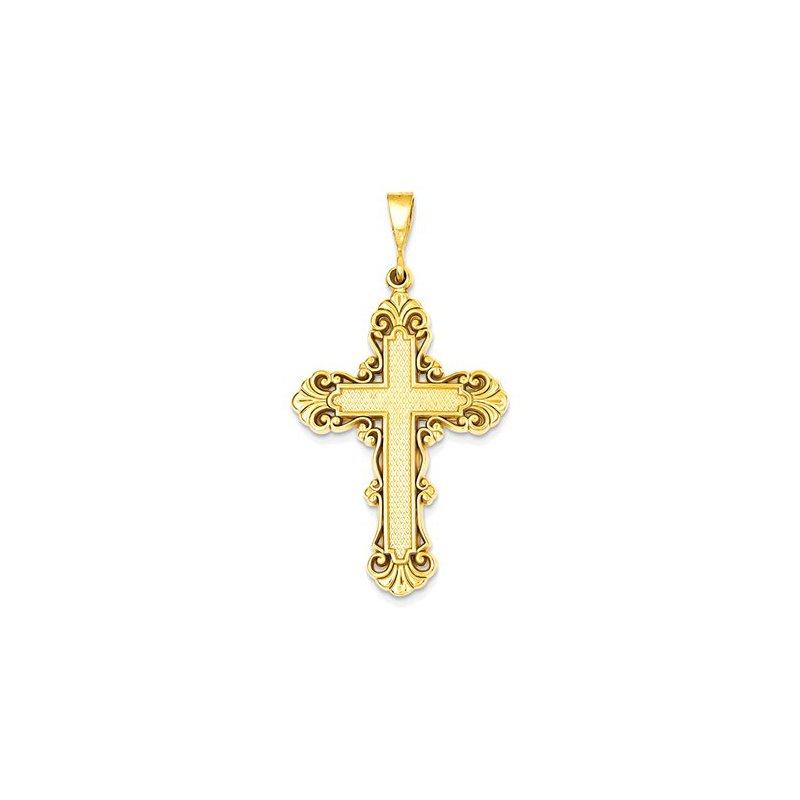 Lovebright Collection Jewelry 14k Fleur De Lis Cross Pendant