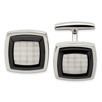 Stainless Steel Polished Black IP-Plated Cufflinks