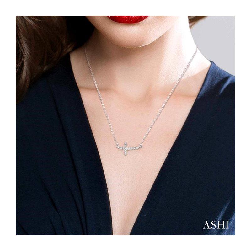 Lovebright Collection Jewelry SIDEWAY CROSS DIAMOND PENDANT