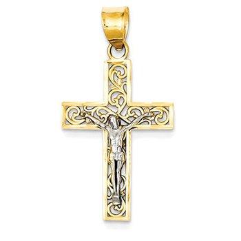 14K Two-tone D/C Small Block Filigree Cross w/Crucifix Pendant
