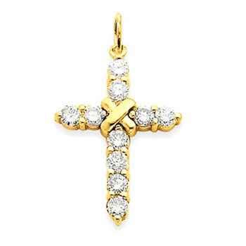 14k AA Diamond Passion Cross Pendant