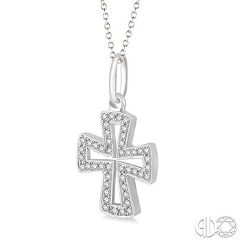 1/10 Ctw Round Cut Diamond Cross Pendant in 14K White Gold with Chain