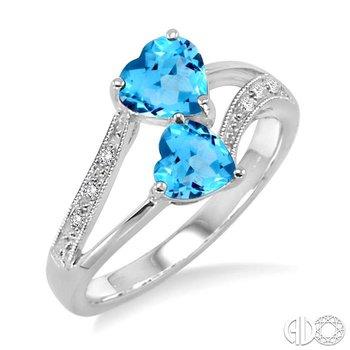 DOUBLE HEART SILVER GEMSTONE & DIAMOND RING