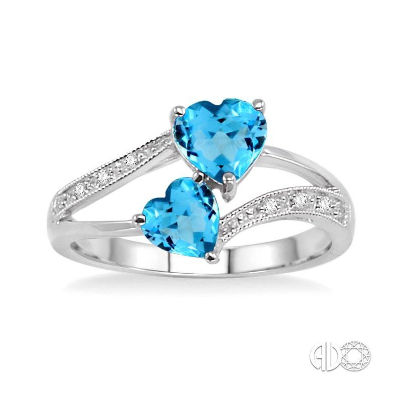 Lovebright Collection Jewelry DOUBLE HEART SILVER GEMSTONE & DIAMOND RING