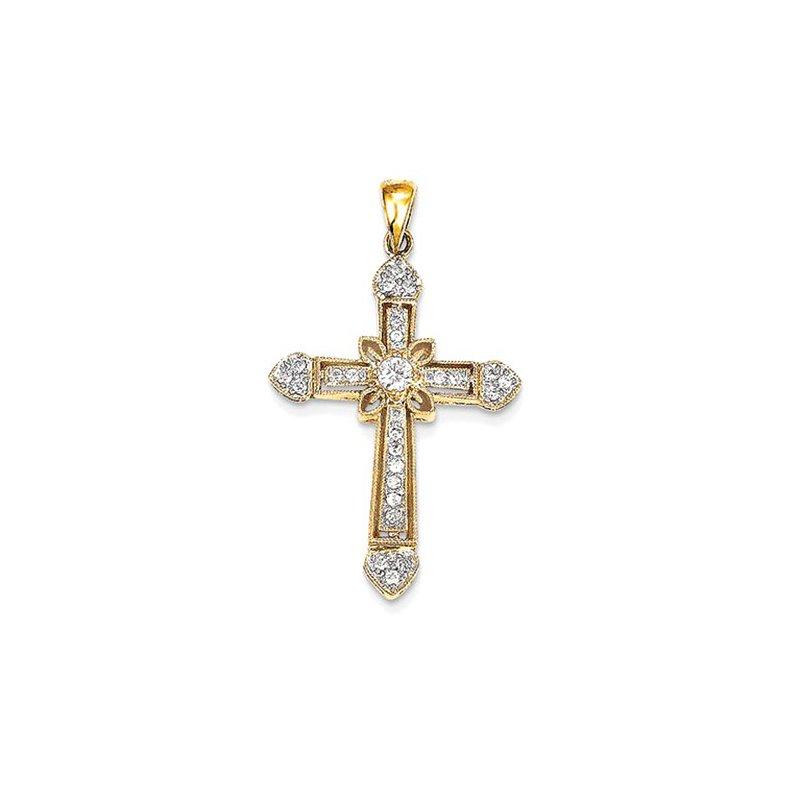 Lovebright Collection Jewelry 14k Diamond Cross Pendant