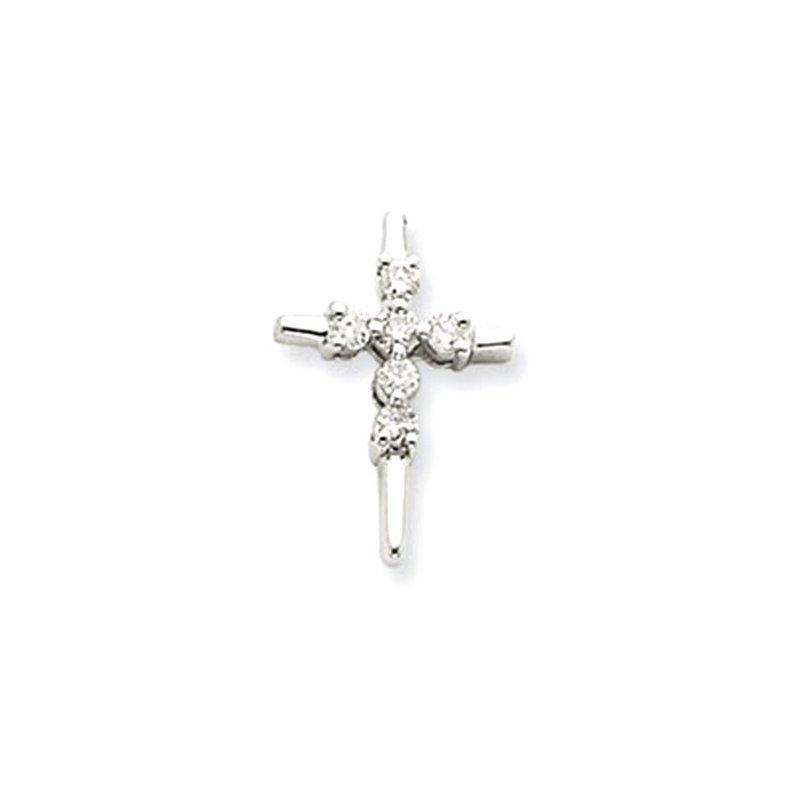 Lovebright Collection Jewelry 14k White Gold Diamond Cross Pendant