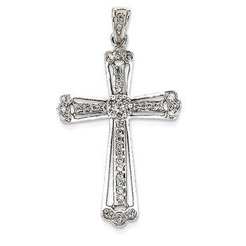 14K White Gold Diamond Budded Cross Pendant