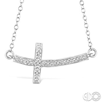 1/50 Ctw Round Cut Diamond Cross Pendant in Sterling Silver with Chain