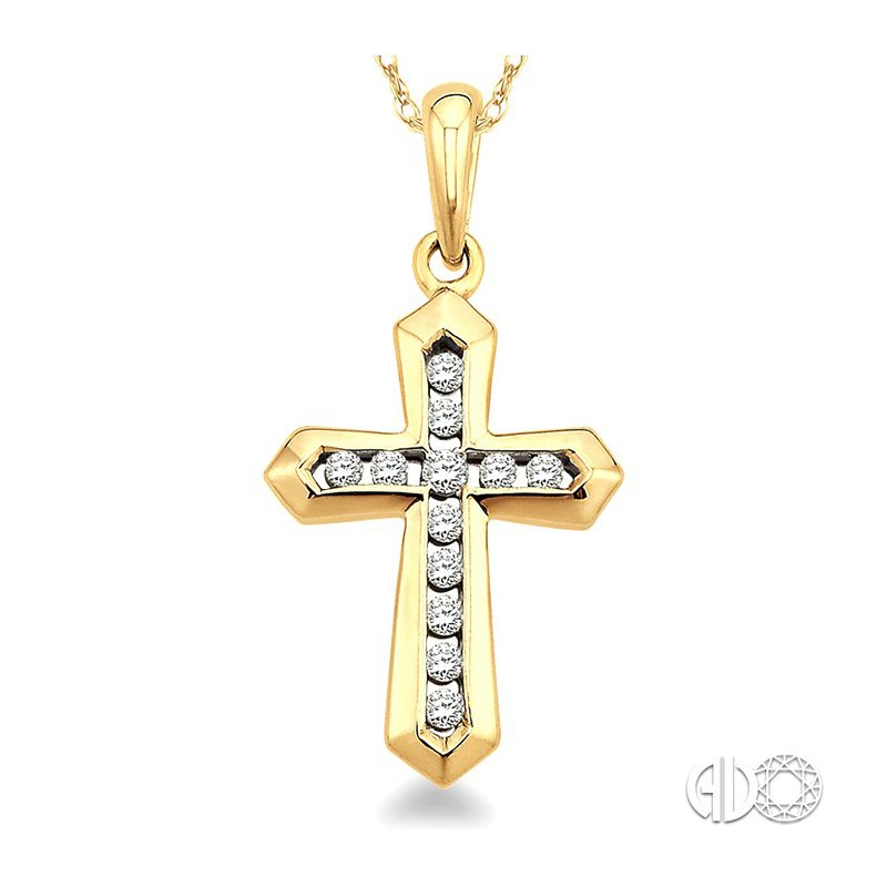 Lovebright Collection Jewelry 1/10 Ctw Round Cut Diamond Cross Pendant in 14K Yellow Gold with Chain
