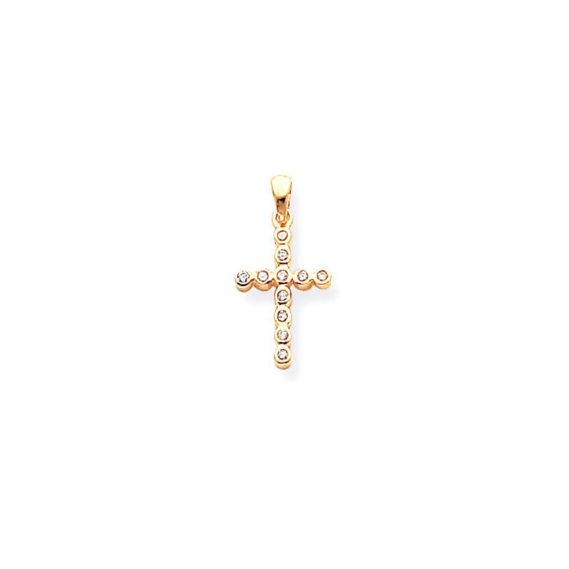 Lovebright Collection Jewelry 14k Polished Diamond Cross Pendant