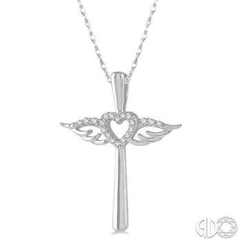 DIAMOND ANGEL WINGS HEART & CROSS PENDANT