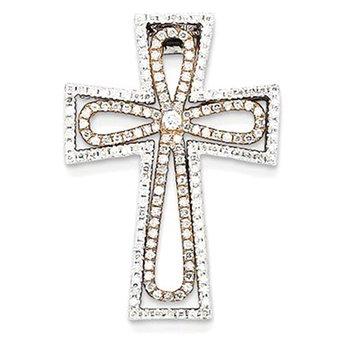 14k Two-tone Diamond Cross Pendant Slide