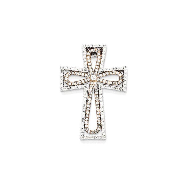 Lovebright Collection Jewelry 14k Two-tone Diamond Cross Pendant Slide