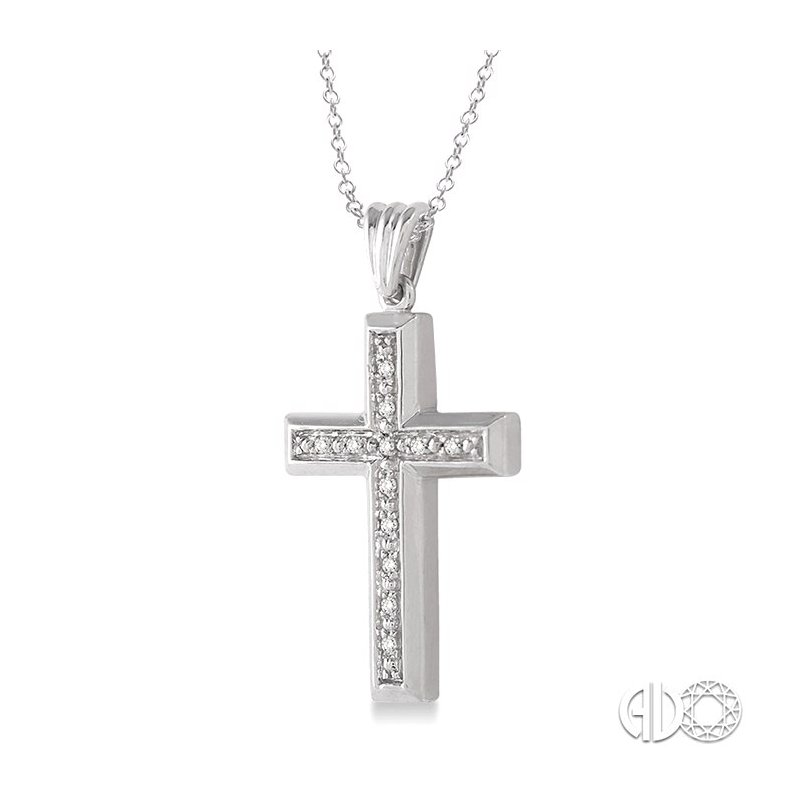 Lovebright Collection Jewelry 1/20 Ctw Single Cut Diamond Cross Pendant in Sterling Silver with Chain