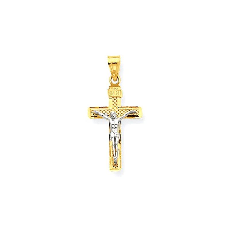 Lovebright Collection Jewelry 14K Two-tone D/C Small Block Lattice Cross w/Crucifix Pendant