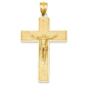 14K Crucifix on Sanded Latin Cross Pendant