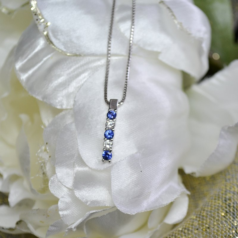 Featured Items Diamond + Sapphire Pendant