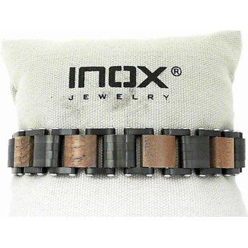 Stainless Steel with Walnut Wood Link Bracelet